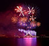 Fireworks Singapore Sports Hub Royalty Free Stock Images