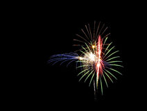 Fireworks in the sky. Colorful fireworks in the night sky royalty free stock photo
