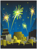 Fireworks on the sky. And city silhouettes Royalty Free Stock Photo
