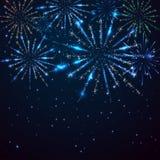 Fireworks on sky background. Dark blue starry sky and shiny fireworks, illustration Stock Photo