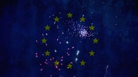 Fireworks in the sky with eu flag. Animation of fireworks in the sky with eu flag in the background stock footage