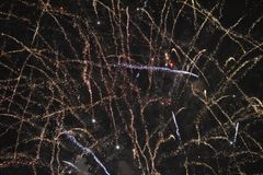 Fireworks in the sky during new year celebration in gdynia, poland. New year fireworks Royalty Free Stock Photography