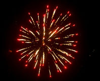 Fireworks in the sky at night as background.  Stock Photo