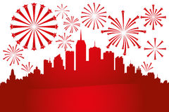 Fireworks in the sky. Over the city Royalty Free Stock Photo