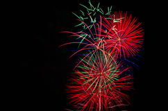 Fireworks in the sky. Fireworks on the right hand side with empty copy space on the left Royalty Free Stock Photography