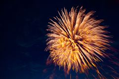 Fireworks in sky twilight. Fireworks display on dark sky background. Independence Day, 4th of July, Fourth of July or New Year stock photo