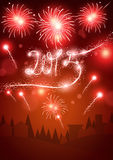 2015 Fireworks in a Small Town. Fireworks over a small town for New Year 2015 stock illustration