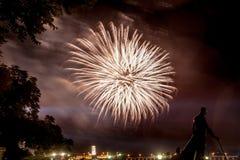 Fireworks and Smoke, Nikola Tesla in Silhouette Royalty Free Stock Photos