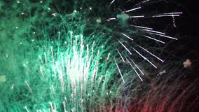Fireworks and smoky traces in sky stock video