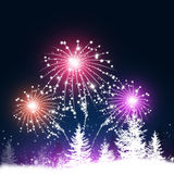 Fireworks in snow Forest. Abstract winter forest background with trees, snow and fireworks Royalty Free Stock Photography