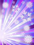 Fireworks from snowflakes. To divergent violet rays Stock Images