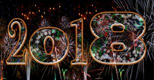 Fireworks 2018 snowflakes stock photos