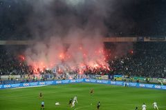 Fireworks at the soccer arena in Kiev Stock Images