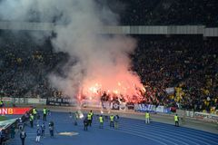 Fireworks at the soccer arena in Kiev Royalty Free Stock Images