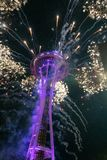 Fireworks at the space needle stock photo