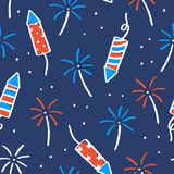 Fireworks and sparklers on a dark background. Seamless pattern for Independence Day. Vector illustration Stock Photography