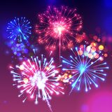 Fireworks sparkling background vector illustration. Fireworks vector illustration of sparkling birght lights and bokeh effect. Realistic background for New Year Royalty Free Stock Photography