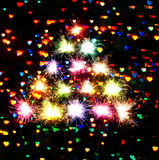Fireworks sparks Bokeh blured  on  hearts dark background Royalty Free Stock Photos