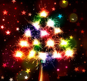 Fireworks sparks Bokeh blured  on stars dark background  from the bottle chmpagne Royalty Free Stock Photo