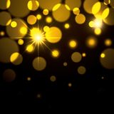 Fireworks sparks in yellow color on black background. Vector illustration Royalty Free Stock Image