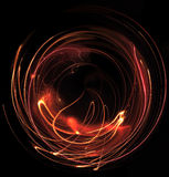 Fireworks. Spherical modification of a swinging colorful pyrotechnic effect in dark back Stock Image