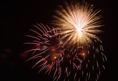 Fireworks splashes at night Royalty Free Stock Images