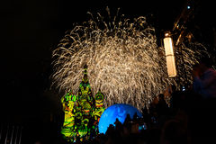 Fireworks and the St. Basil's Cathedral. MOSCOW, RUSSIA - AUGUST 26, 2016: Spasskaya Tower international military music festival Royalty Free Stock Photography