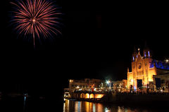 Fireworks in St Julians bay 3. Fireworks in St Julians bay, Malta Stock Images