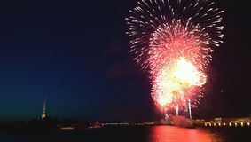 The fireworks in St. Petersburg during the celebration of the graduates Scarlet sails. Stock Photo