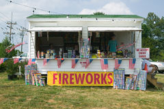 Fireworks stand on route Stock Photo