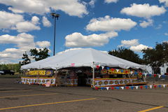 Fireworks Stand in Shopping Center Parking Lot Royalty Free Stock Image