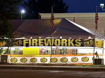 Fireworks Stand in Shopping Center Parking Lot Royalty Free Stock Photo