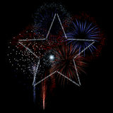 Fireworks with star. Red white and blue fireworks with star of sparks stock illustration