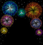 Fireworks with star on black background Stock Photo