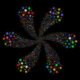 Fireworks Star Flower. Glyph illustration. This New Year Pyrotechnic illustration is drawn with multi-colored flat bright stars on a black background Royalty Free Stock Photo