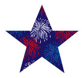 Fireworks star. Luly 4th red white blue fireworks star Royalty Free Stock Photos