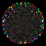Fireworks Star Sphere. Vector illustration. This New Year Pyrotechnic illustration is drawn with multi-colored flat bright stars on a black background Royalty Free Stock Photography
