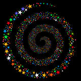 Fireworks Star Spiral. Glyph illustration. This New Year Pyrotechnic illustration is drawn with multi-colored flat bright stars on a black background Royalty Free Stock Images