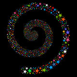 Fireworks Star Spiral. Vector illustration. This New Year Pyrotechnic illustration is drawn with multi-colored flat bright stars on a black background Royalty Free Stock Image