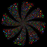 Fireworks Star Twirl. Glyph illustration. This New Year Pyrotechnic illustration is drawn with multi-colored flat bright stars on a black background Royalty Free Stock Photo