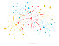 Fireworks with star on white background. Illustration of Fireworks with star on white background Stock Photography