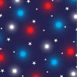 Fireworks and stars on blue. Background Stock Photo