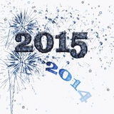 Fireworks and stars Happy New Year 2015. Bright blue fireworks and stars graphic illustration celebrating Happy New Years Eve 2015 and the end of 2014 as it Royalty Free Stock Photos