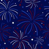 Fireworks and Stars Seamless Pattern. Festive exploding fireworks and stars filling the night sky seamless pattern in colors of red, white, blue, and navy blue Royalty Free Stock Photography