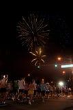 Fireworks at Start of Honolulu Marathon Royalty Free Stock Photos