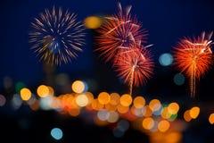 Fireworks Stock Image and Blurred Ferris Wheel