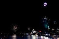 Fireworks in stockholm harbor sweden Stock Image