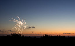 Fireworks at sunset Royalty Free Stock Images