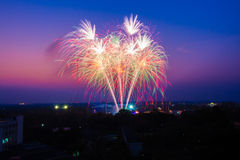 Fireworks at sunset Royalty Free Stock Photos