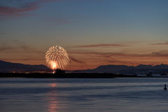 Fireworks in the sunset Royalty Free Stock Photography
